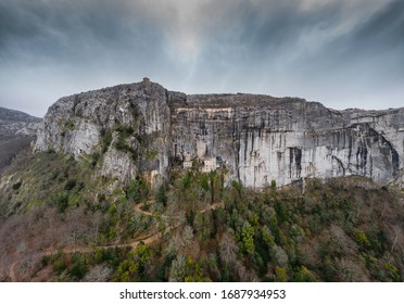Aerial view of the Grotto of Maria Magdalena in France, Plan D'Aups, the massif St.Baum, holy fragrance, famous place among religious believers, the Monastery of Dominican Friars - Shutterstock ID 1687934953