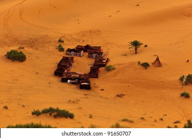Aerial view of a group of Bedouin tents in Sahara Desert Morocco