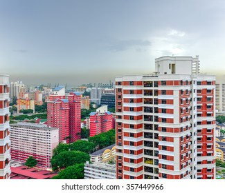Aerial view group of high rise colorful residential apartments in Redhill neighborhood in Singapore at sunset. Urban concept