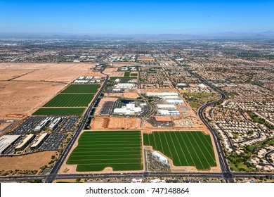Aerial view of the growth in Chandler, Arizona of the technology and related industries