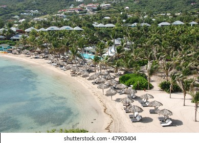Aerial View of Guanahani Beach on Grand Cul-de-Sac Bay in St Barts, French West Indies