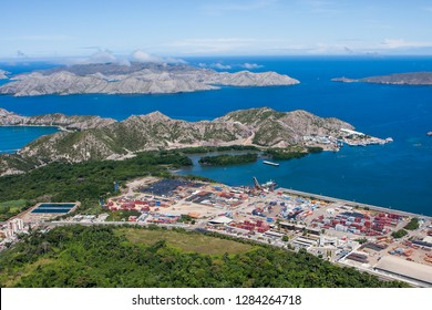 Aerial view of Guanta Bay and port with a section of Mochima National Park behind, Venezuela.