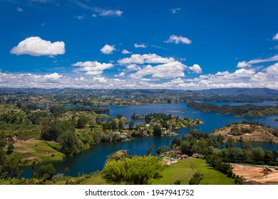 Aerial view of Guatape (Penol) dam lake in Colombia