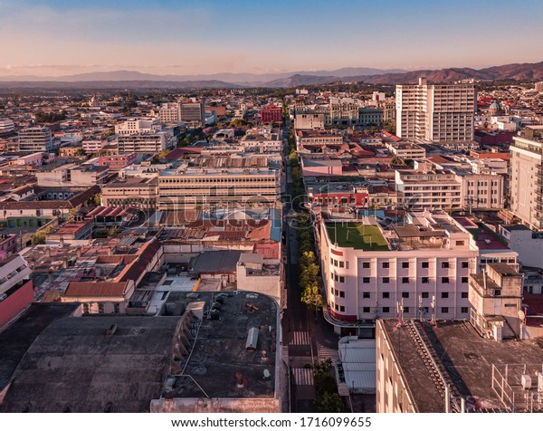 Aerial view of Guatemala City. Empty streets due to quarantine of covid-19 or coronavirus.