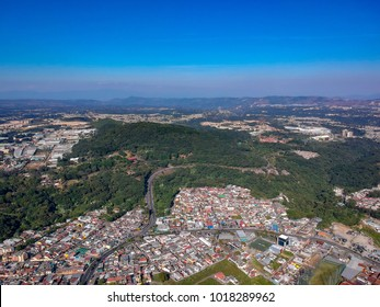 Aerial view of Guatemala city suburbs
