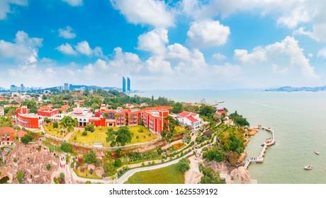 Aerial view of Gulangyu Island, Fujian Province, China