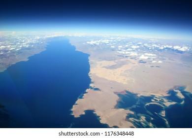 Aerial View of the Gulf of Aqaba, the Sinai Peninsula and the Coastline of Saudi Arabia