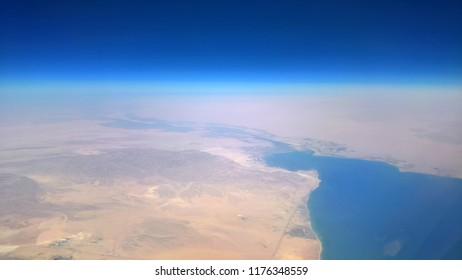 Aerial View of the Gulf of Suez and the Suez Canal in Egypt