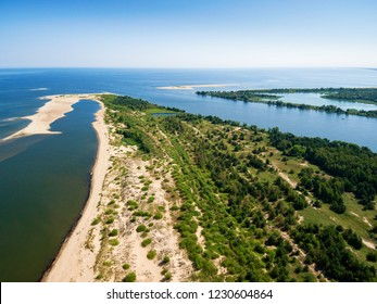 Aerial view of Gull Swan and the Vistula river mouth to the Baltic sea