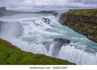 Aerial view of Gullfoss waterfall in southwestern part of the Iceland