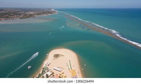 Aerial view of the Gunga beach - Alagoas state - Brazil