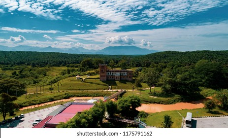 Aerial view of Gunung Lang recreation park.Located at Ipoh, Perak, Malaysia. Besides the park, Gunung Lang Recreational Park has a beautiful lake and limestone hills from Gunung Lang and Gunung Biliki