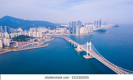 Aerial view of Gwangalli beach in Busan city, South Korea. Aerial view of Busan city, South Korea.