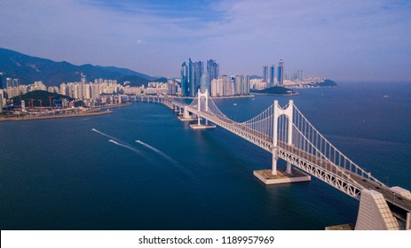 Aerial view of Gwangan bridge and Gwangalli beach in Busan city, South Korea.
