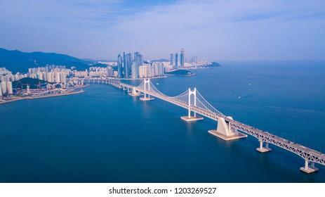 Aerial view of Gwangan bridge and Gwangalli beach in Busan city, South Korea.