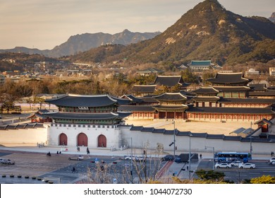Aerial view of Gyeongbok palace and the Blue House in Seoul city, South Korea