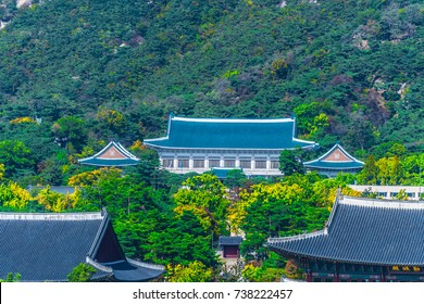 Aerial view of Gyeongbokgung palace and the Blue House , Seoul, South Korea