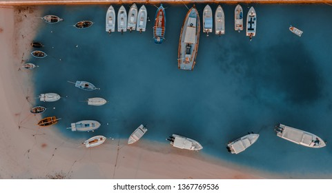 Aerial view of a habour with marine vessels