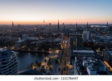 Aerial View of HafenCity in Hamburg at sunset. Port of Hamburg.