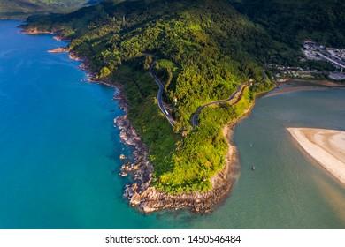 Aerial view of Hai Van pass from Hue to Da Nang, Bach Ma mountain, Hue area, Vietnam