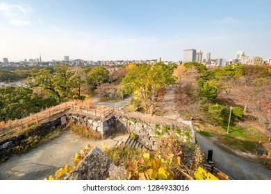 Aerial view of Hakata City from the top of the Fukuoka Castle.