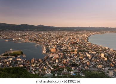 Aerial view of Hakodate during sunset from Mount Hakodate, Hokkaido, Japan
