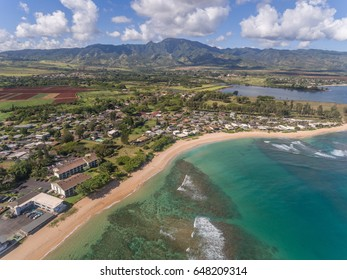 Aerial view of Haleiwa Beach on the north shore of Oahu Hawaii