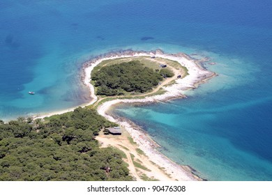 Aerial view of half island on Cape Kamenjak, Istria, Croatia, Europe