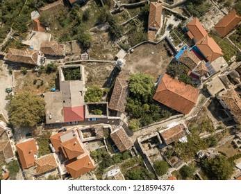 Aerial view of half-abandoned village in Albania (Upper Qeparo, Albanian Riviera)