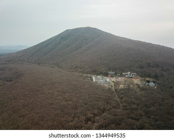 Aerial view of Hallasan Mount located in Jeju Island at the end of the winter.