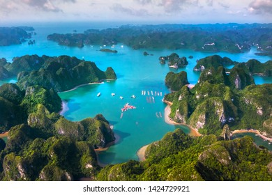 Aerial view of Halong pearl museum and rock island, Halong Bay, Vietnam, Southeast Asia. UNESCO World Heritage Site. Junk boat cruise to Ha Long Bay. Popular landmark, famous destination of Vietnam