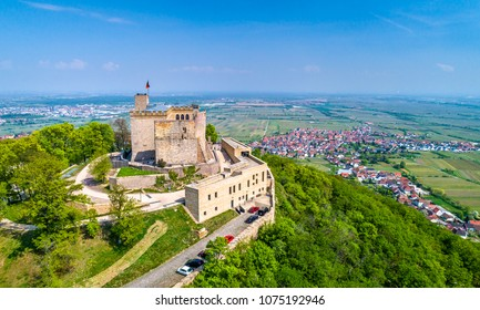 Aerial view of Hambacher Schloss or Hambach Castle in the Palatinate Forest. Rhineland-Palatinate, Germany.