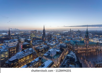 aerial view of hamburg in the evening