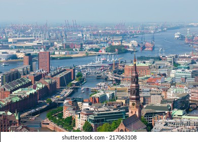 Aerial view of Hamburg port in a summer day