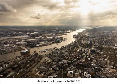aerial view Hamburg, River Elbe, Port, Elbphilharmonie