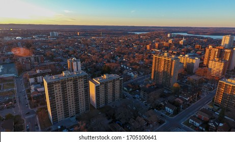 Aerial view of the Hamilton Ontario skyline from the Hamilton Amateur Athletic Association Grounds.