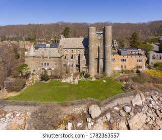 Aerial view of Hammond Castle in village of Magnolia in city of Gloucester, Massachusetts MA, USA. This building was built in 1926 on the coast of Gloucester Harbor.