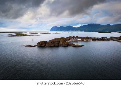 Aerial view of the Hamn i Senja village located on the Senja Island in northern Norway. This famous tourist attraction is surrounded by beautiful fjords and mountains.