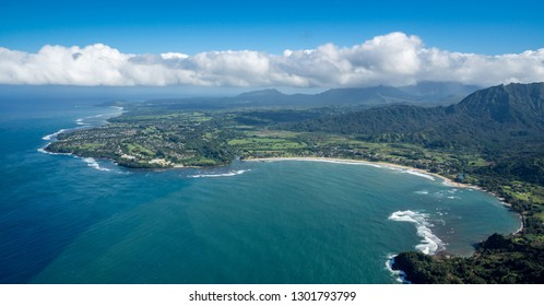 Aerial view of Hanalei Bay and Princeville on hawaiian island of Kauai from helicopter flight