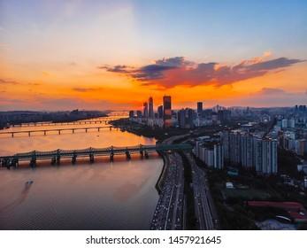 Aerial view of the Hangang River Seoul city center South Korea