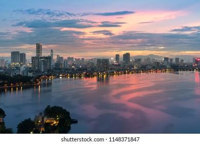 Aerial view of Hanoi skyline at West Lake or Ho Tay. Hanoi cityscape at twilight