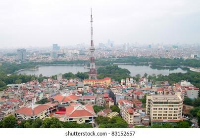 Aerial view of Hanoi Vietnam lake view