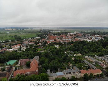 Aerial view of hanseatic league Anklam a town in the Western Pomerania region of Mecklenburg-Vorpommern, Germany. It is situated on the banks of the Peene river.