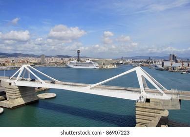 Aerial view of the harbor of Barcelona. Mediterranean Sea. Spain