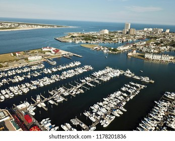 Aerial view of harbor and city.