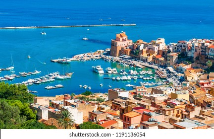 Aerial view of harbor and historic part of Castellammare del Golfo, province of Trapani, Sicily island, Italy