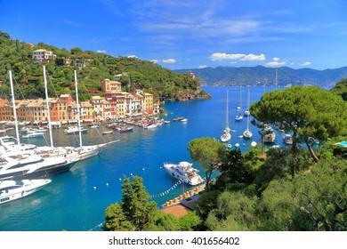 Aerial view to the harbor of Portofino, Italy