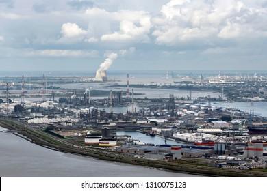 Aerial view of harbour in Antwerp, Belgium.