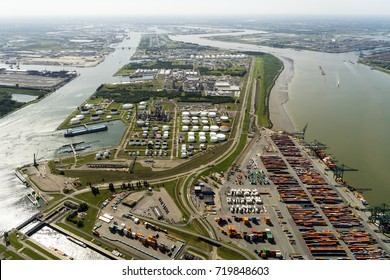 Aerial view of harbour in Antwerp, Belgium.