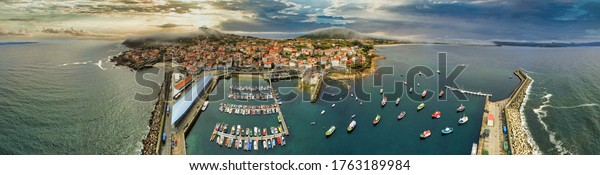 Aerial view of harbour in Finisterre. Galicia,Spain. Drone Photo